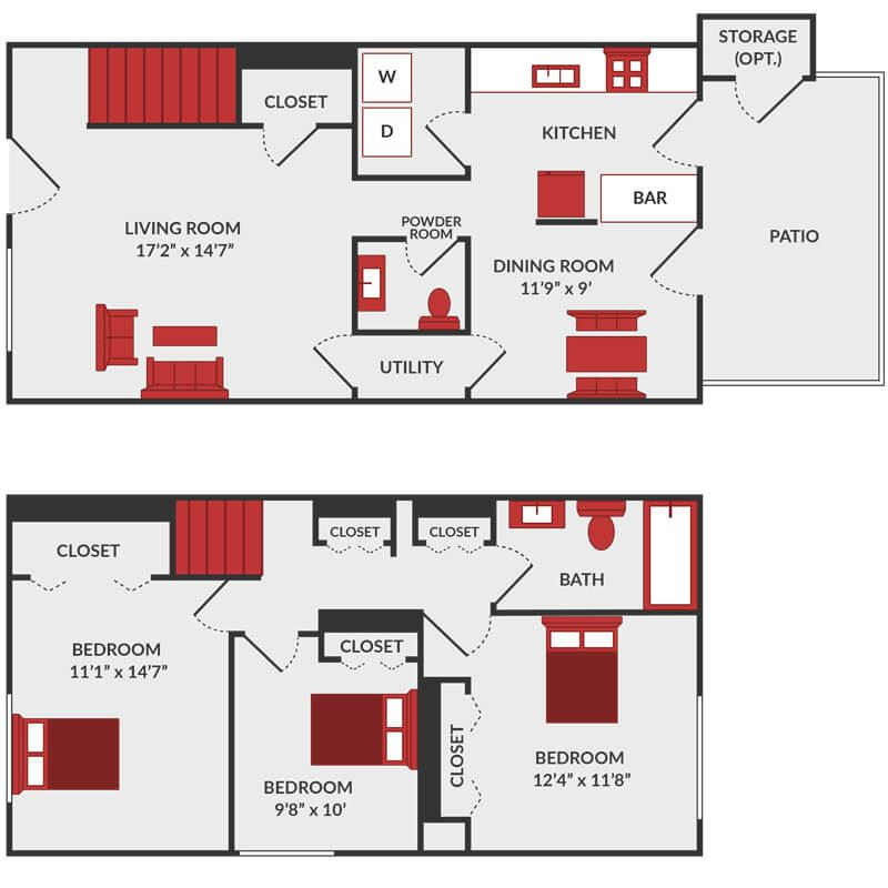 3 bedroom townhome floor plan in Fairfield, OH