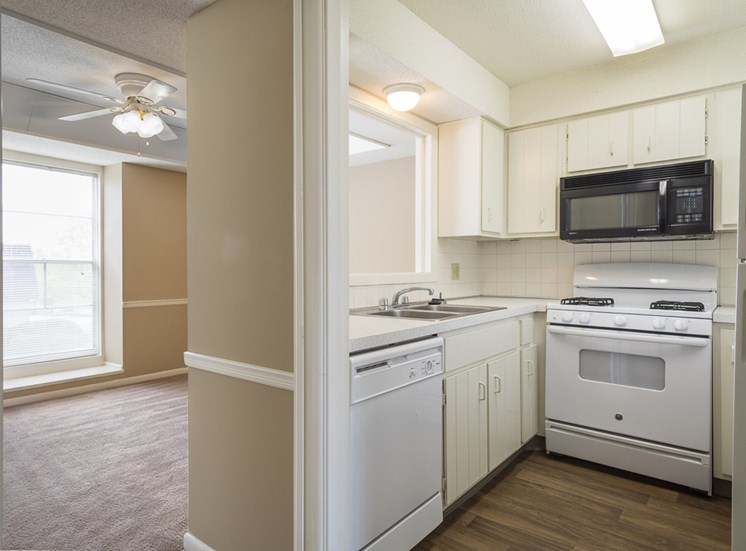 Updated kitchens at The Ridge at Chestnut Apartments in South Kansas City, MO