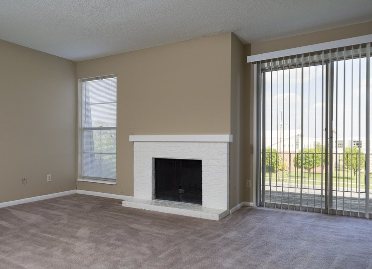 Brick fireplaces at The Ridge at Chestnut Apartments in South Kansas City, MO