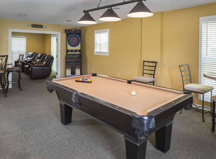 Game room in Clubhouse at The Ridge at Chestnut Apartments in South Kansas City, MO