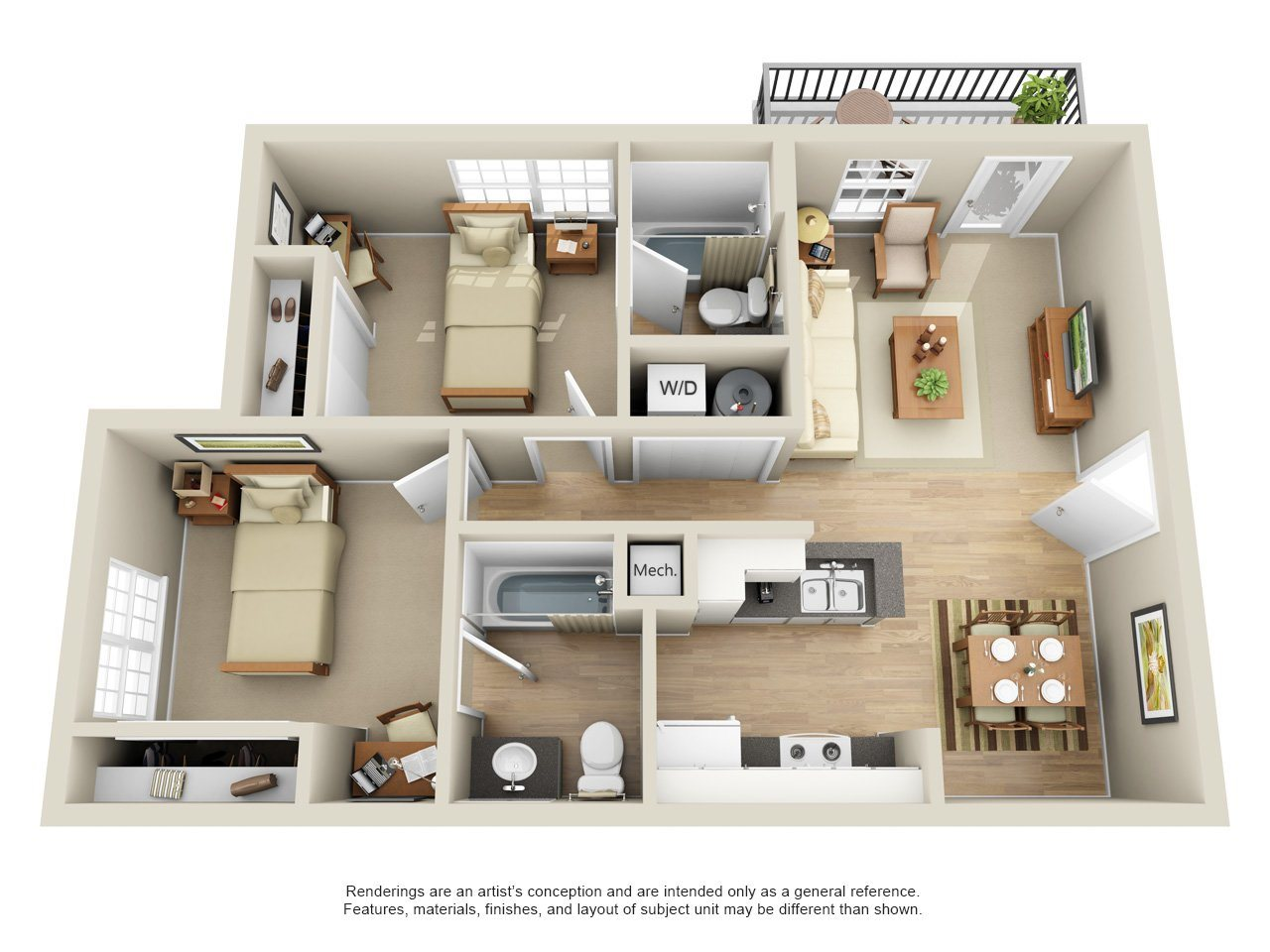 Two Bedrooms Floor Plan 1