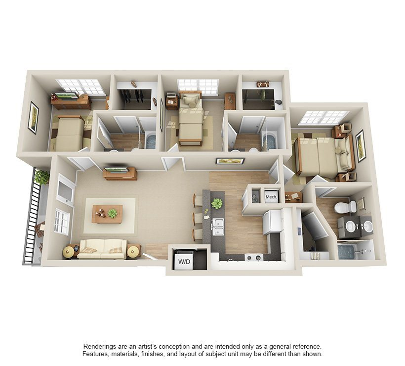 Three Bedrooms Floor Plan 2