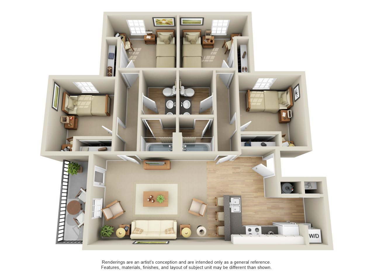 Four Bedrooms Two Bath Floor Plan 3