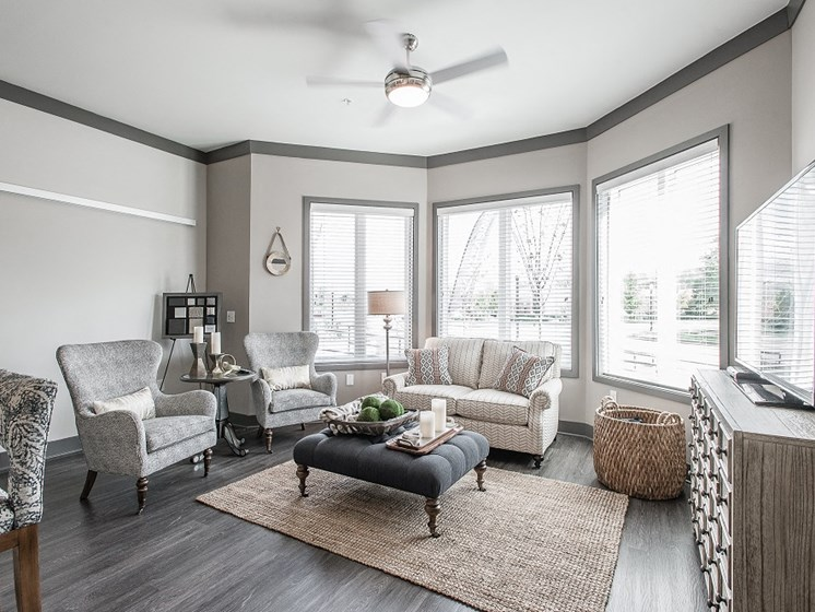 Contemporary Living Rooms at Vintage at The Avenue Apartments near Murfeesboro, Tennessee