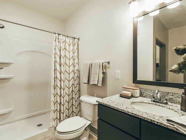 Modern Bathroom Features at Vintage Blackman Apartments in Murfeesboro, Tennessee