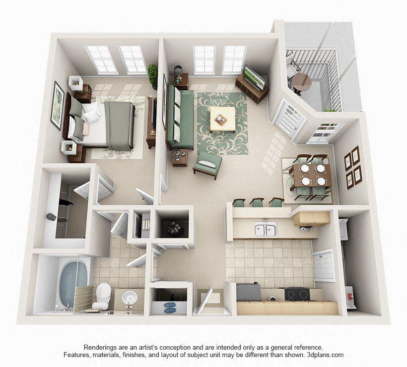 1 Bedroom 1 Bathroom Floor Plan at Seasons at Westchase, Tampa, Florida