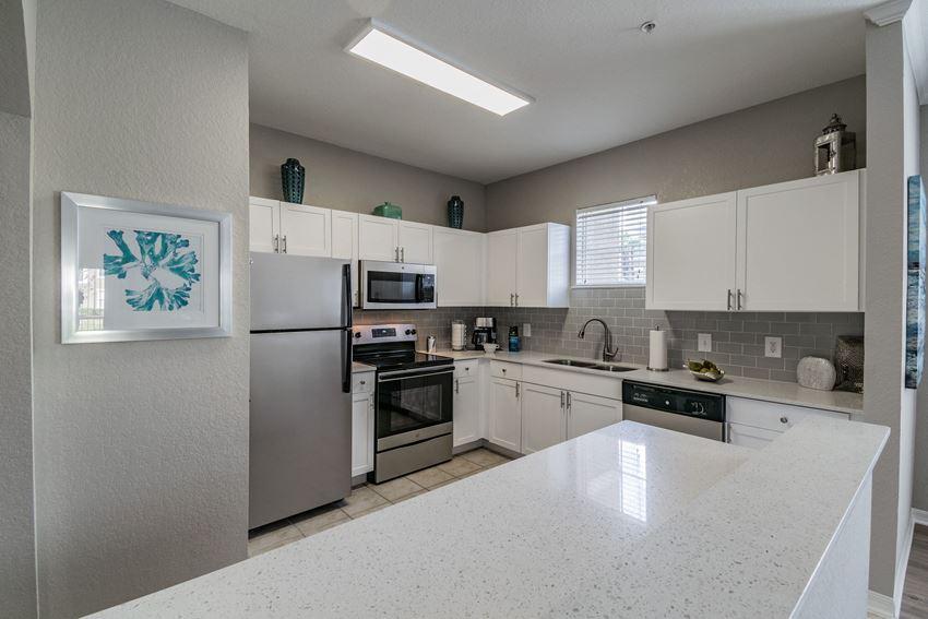 Quartz Countertops In Kitchen at Seasons at Westchase, Florida