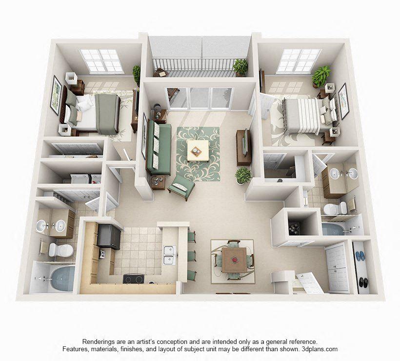 2 Bedroom 2 Bathroom Floor Plan at Seasons at Westchase, Tampa