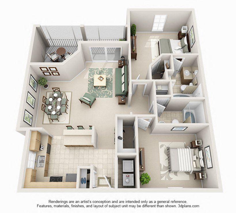 2 bedroom 2 bath Floor Plan at Seasons at Westchase, Florida