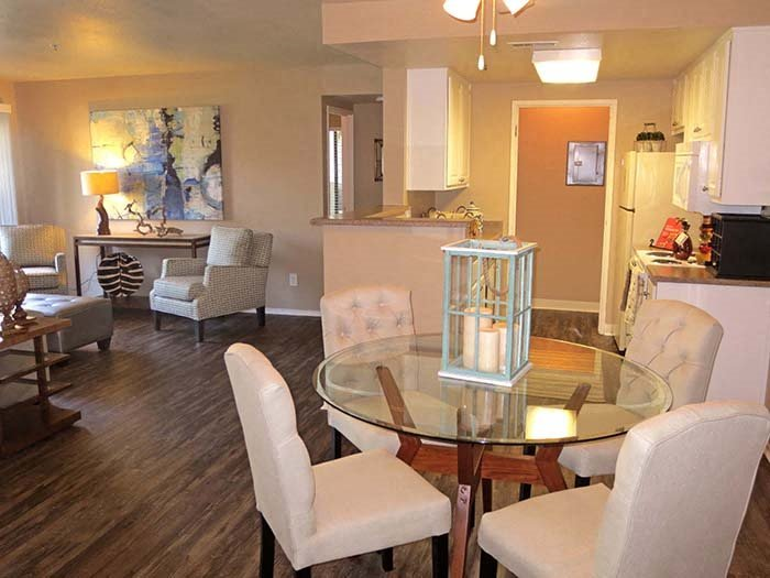 Dining and Living Room l The Marina Apartments in Modesto CA