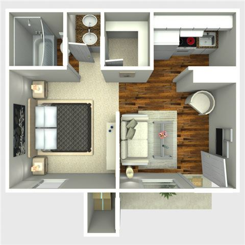 Astro 1 Bedroom Floor Plan at The Quinn at Westchase, Houston