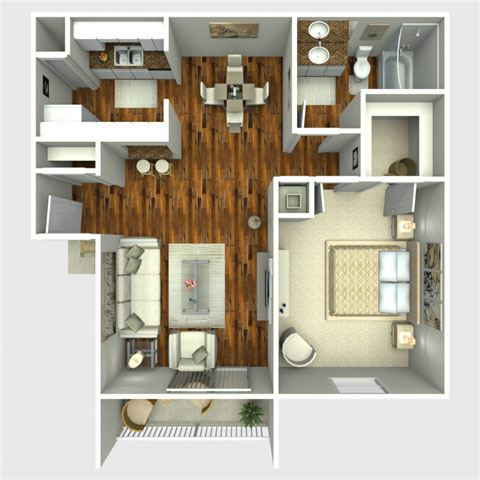Billy 1 Bedroom Floor Plan at The Quinn at Westchase, Houston, 77077