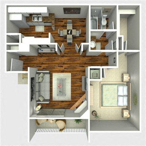 Comet Floor Plan, 1 Bedroom at The Quinn at Westchase, Houston, TX