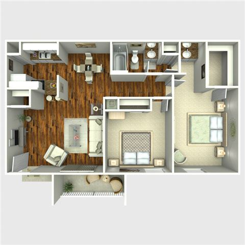Cowboy 2 Bedroom Floor Plan at The Quinn at Westchase, Houston, TX, 77077