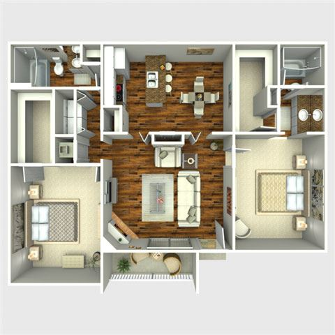 Eliminator 2 Bedroom Floor Plan at The Quinn at Westchase, Texas, 77077