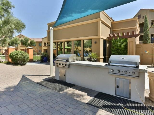 exterior pool grilling area