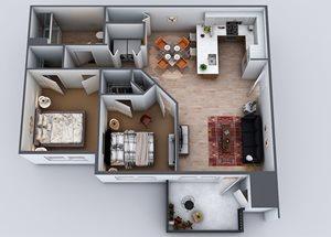Layout 1, 2 br, 1 ba, 923 sq. ft.