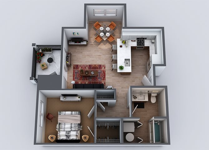 1 BEDROOM (Layout 2) Floor Plan 2