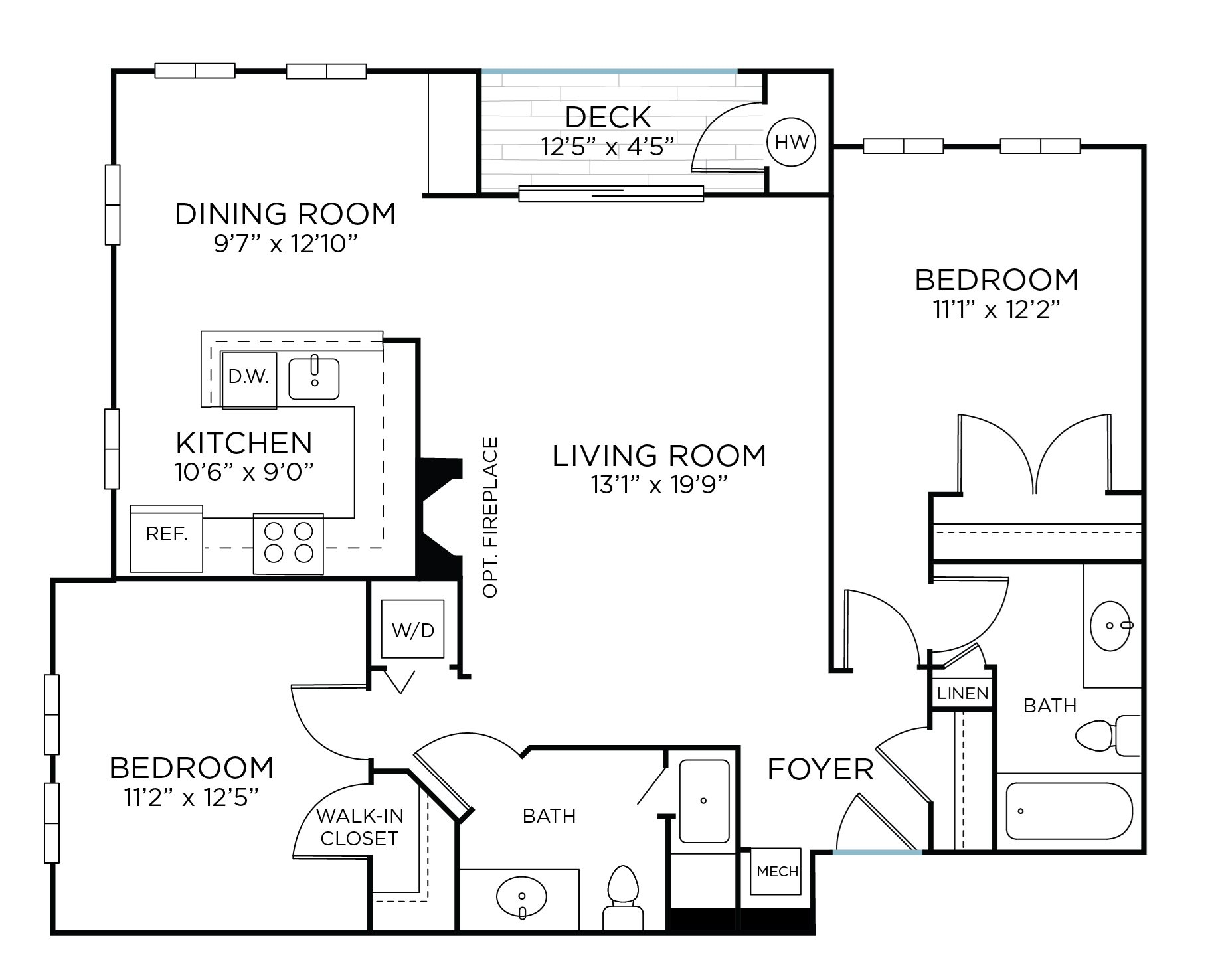 BROOKEVILLE Two Bedrooms/ Two Bathrooms (bc3) Floor Plan 7