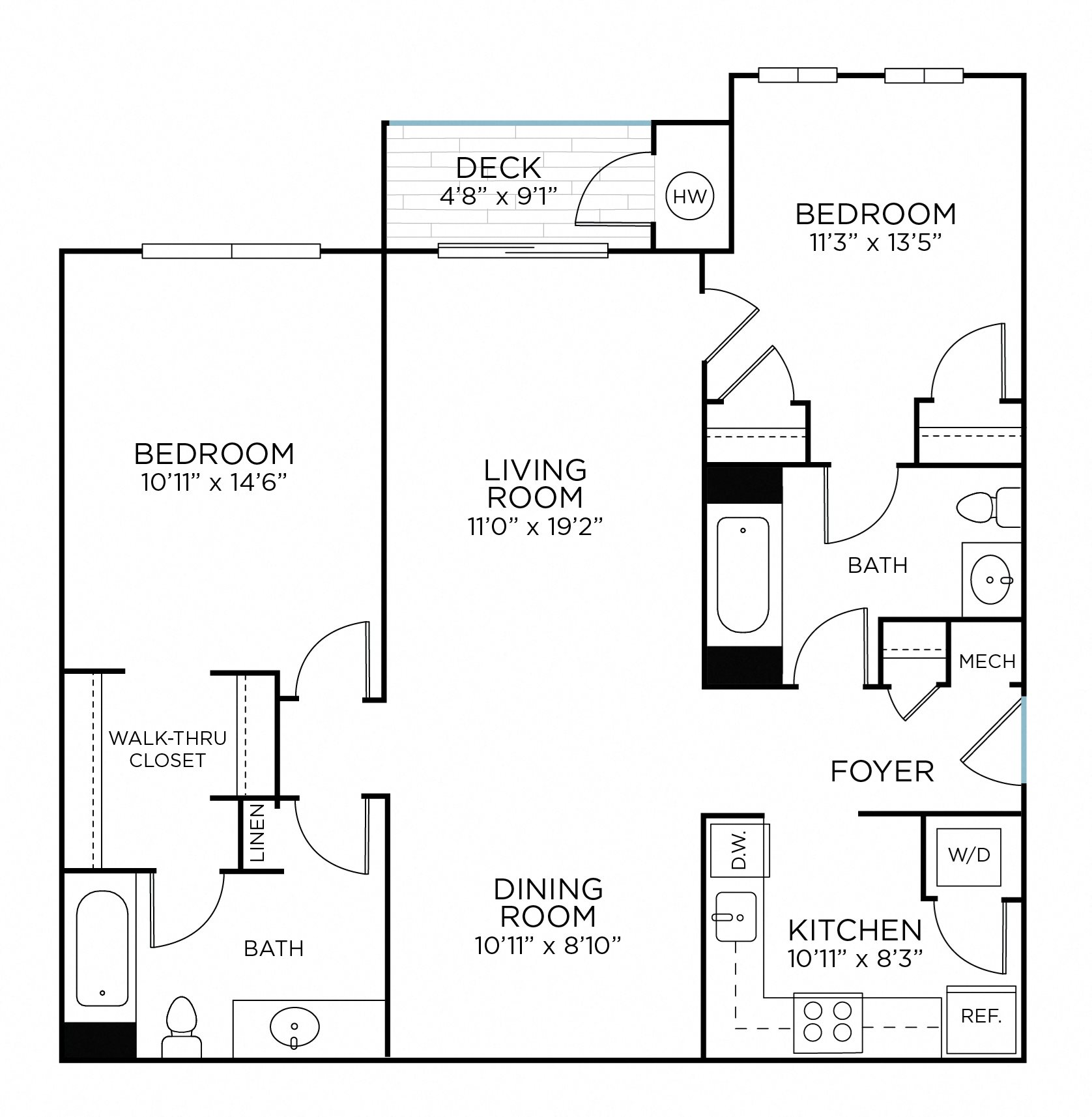 CHURCHILL Two Bedrooms/ Two Bathrooms (bc2) Floor Plan 5