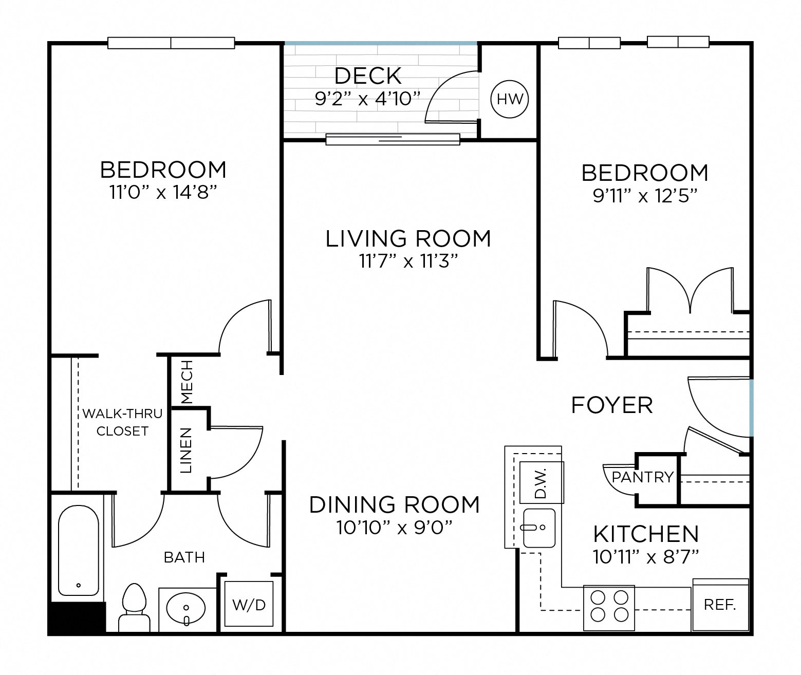 GOSHEN Two Bedrooms/ One Bathroom (ba1) Floor Plan 4