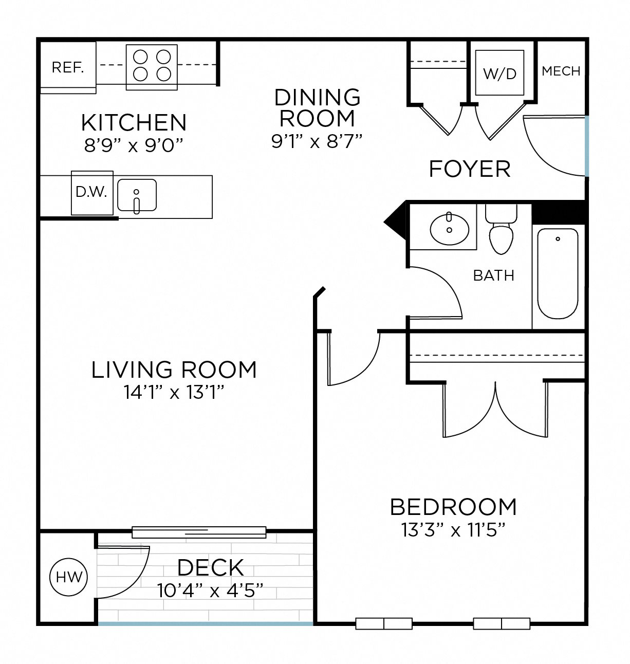 NORBECK One Bedroom/ One Bathroom (aa1) Floor Plan 1