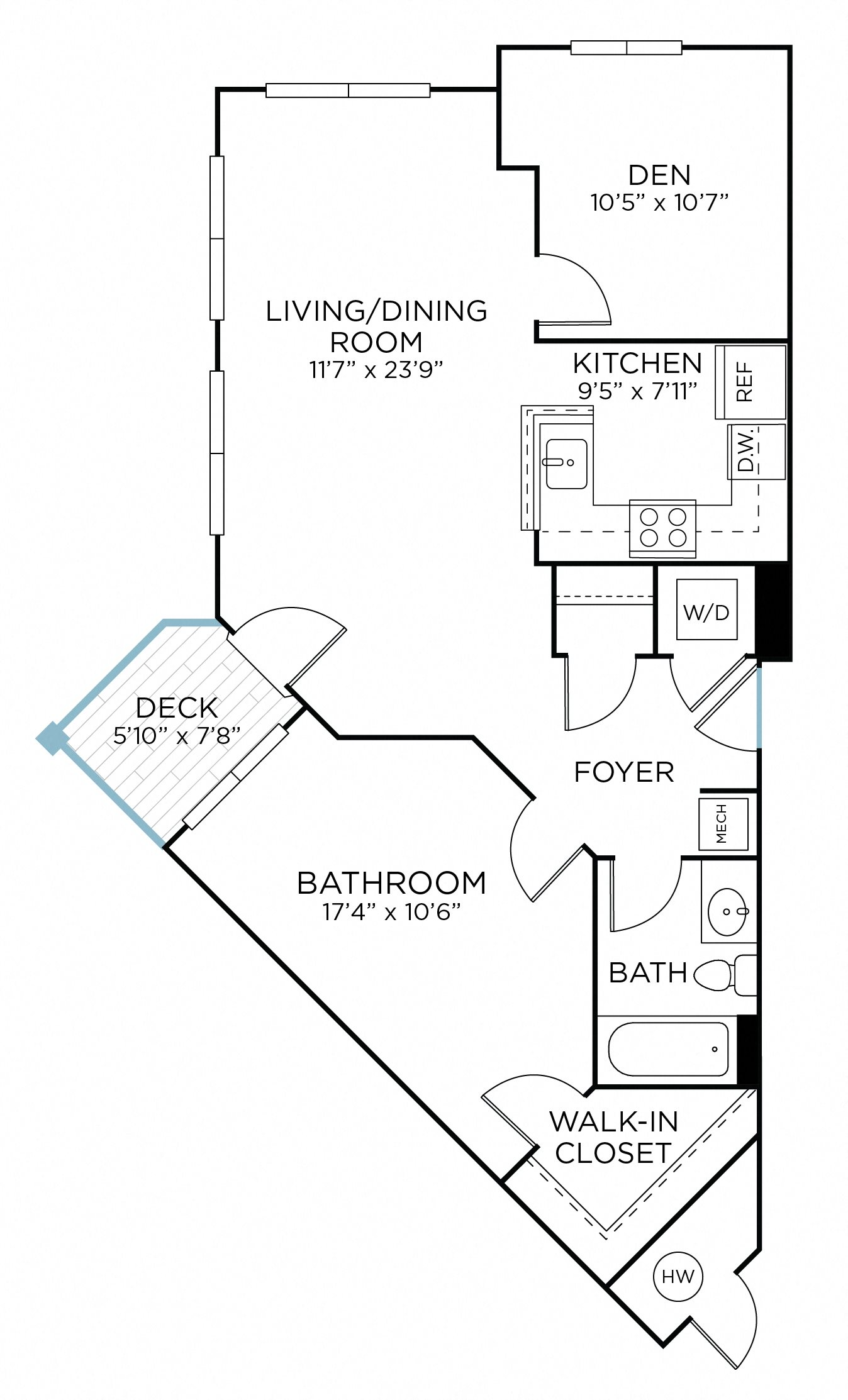 SANDOR One Bedroom/ One Bathroom  with Den (aad1) Floor Plan 3