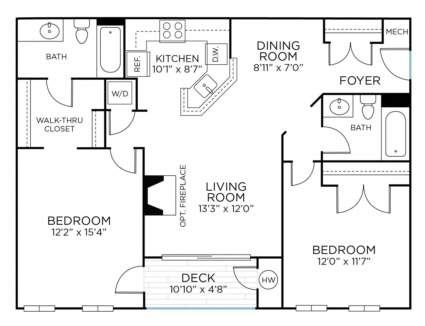 SENECA Two Bedrooms/ Two Bathrooms (bc1) Floor Plan 6