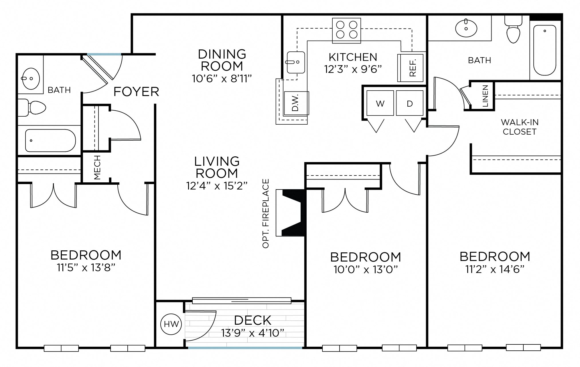 SUGARLOAF Three Bedrooms/ Two Bathrooms (cc1) Floor Plan 9