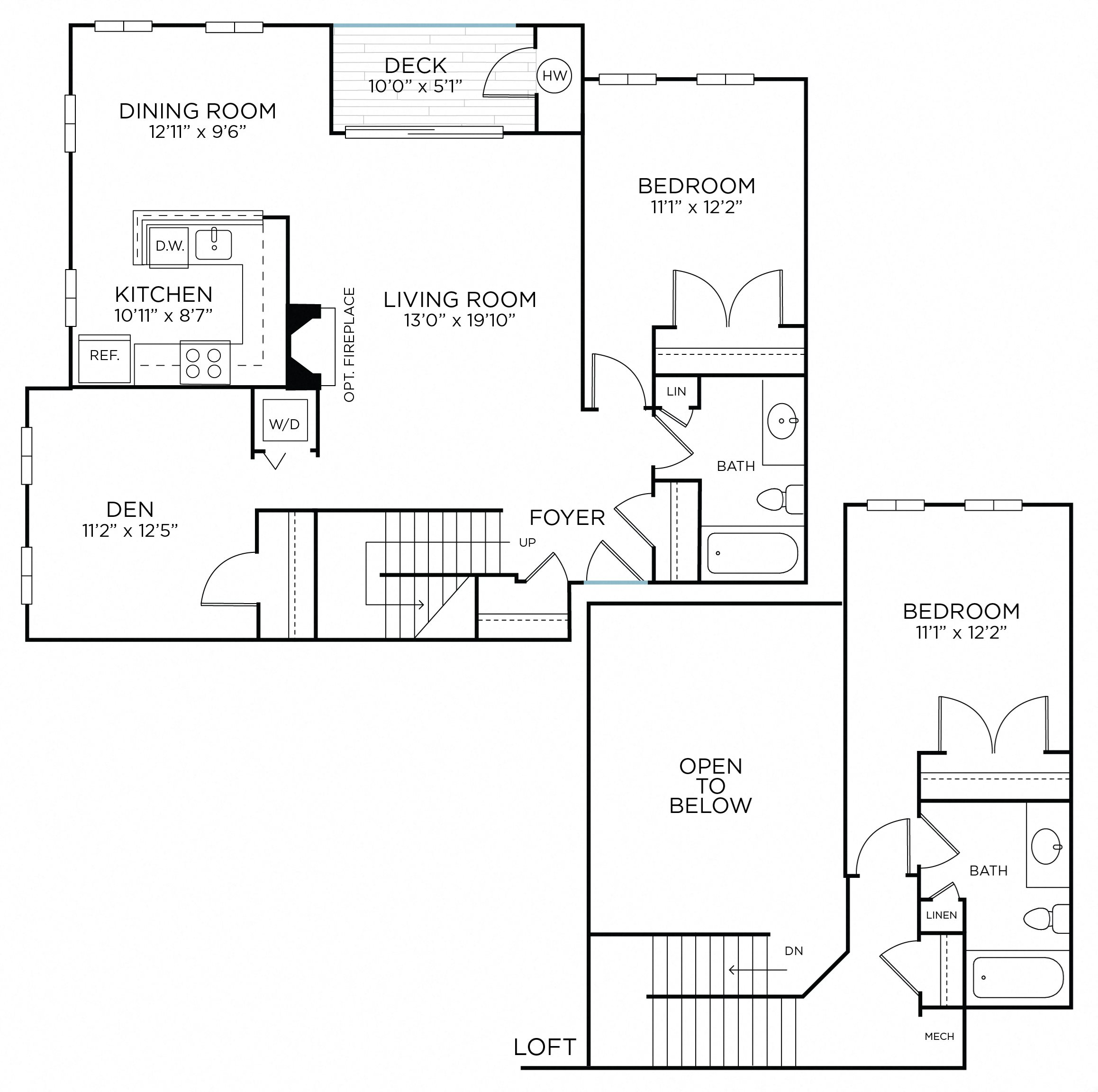 WARREN Two Bedrooms/ Two Bathrooms Den/Loft (bcd1) Floor Plan 8