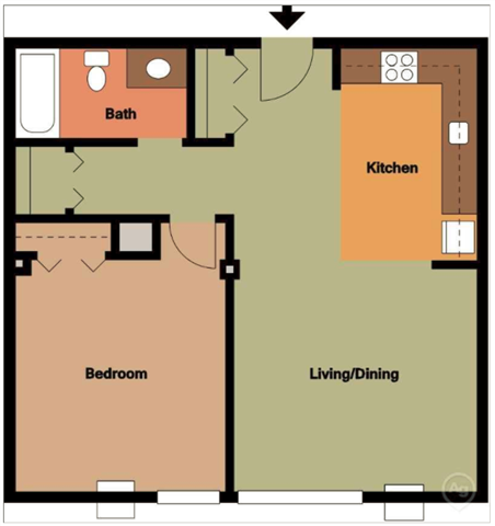 ONE BEDROOM A (MAPLE)