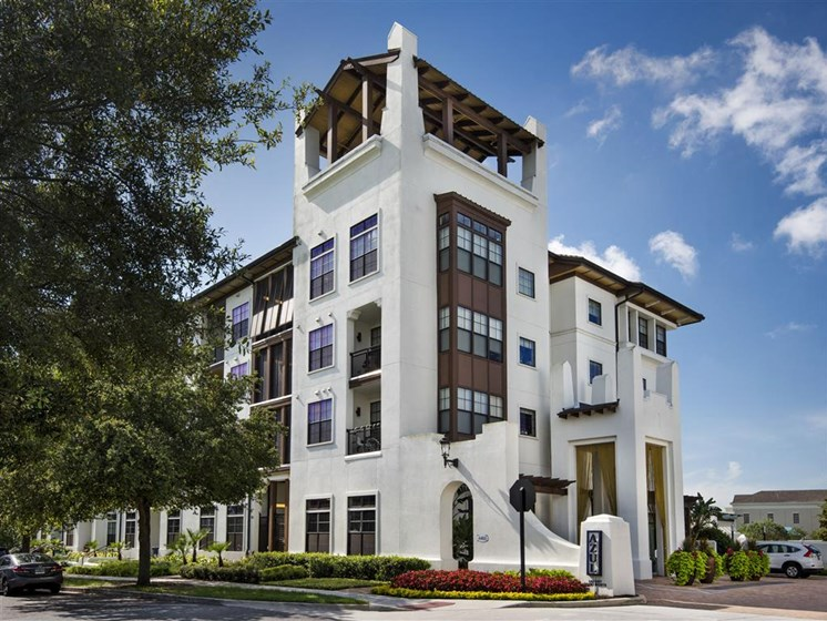 Unique boutique hotel architecture at Azul Baldwin Park, Orlando, Florida
