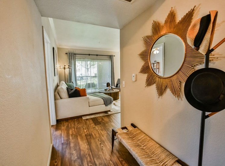 Enterance of unit with coat rack and mirror