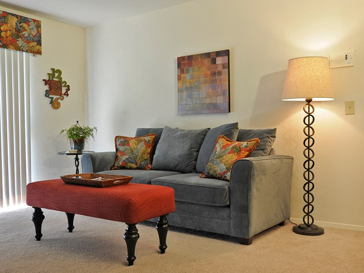 Cozy Living Room at Bristol Square and Golden Gate Apartments, Wixom, Michigan