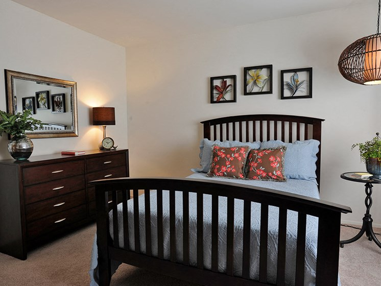 Comfortable Bedroom With Large Window at Bristol Square and Golden Gate Apartments, Michigan
