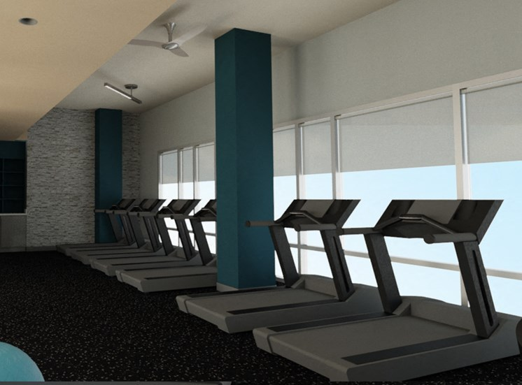 modern gym area in greensboro apartment building