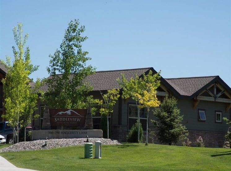 Welcoming Property Signage at Saddleview Apartments, Bozeman, 59715