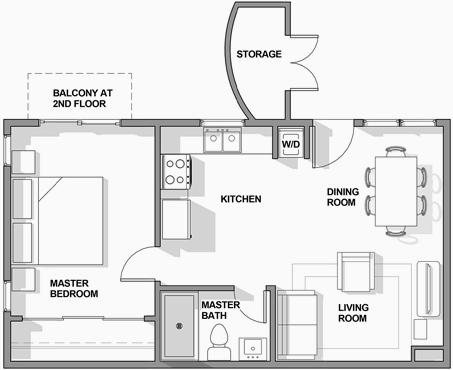 1BR/1BA Floor Plan 1