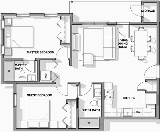 2BR/2BA Floor Plan 2