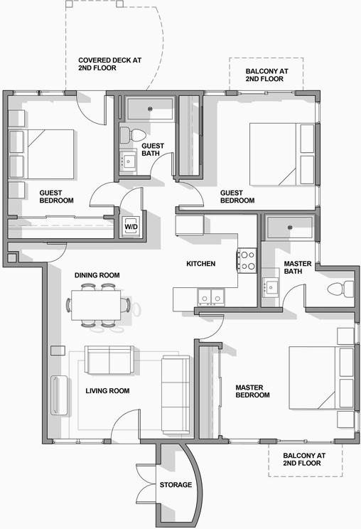 3BR/2BA Floor Plan 3