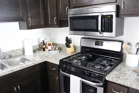 Model apartment home kitchen close up of appliances