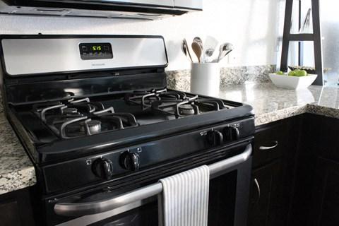 Model apartment home kitchen stove