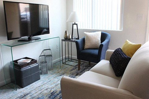 Model apartment home living room from a different angle