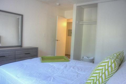 Model apartment home bedroom and closet