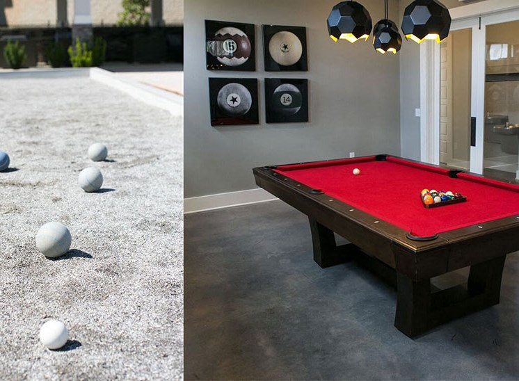 Game Room with Custom Billiards and Card Table at Asheville Exchange Apartment Homes, Asheville, NC 28806