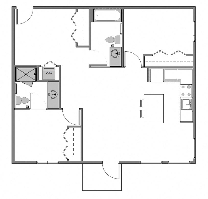 Sparc Apartments 2x2 Building B and D Floor Plan