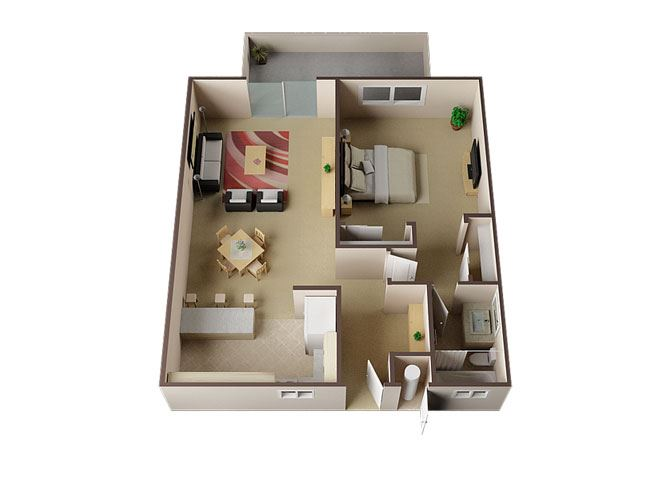 Birmingham One Bed One Bath Floor Plan at Carrington Apartments, Fremont, 94538