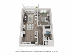 A1 Floor Plan at Valley Lo Towers, Glenview