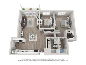 B1 Floor Plan at Valley Lo Towers, Glenview, IL, 60025