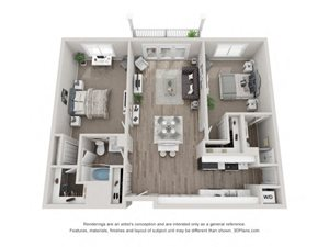 B2 Floor Plan at Valley Lo Towers, Glenview, IL
